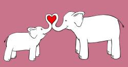 Elefánt anya és lánya (Forrás: Annie Ludes - http://www.annieink.com/2011/09/motherdaughterelephant.html)