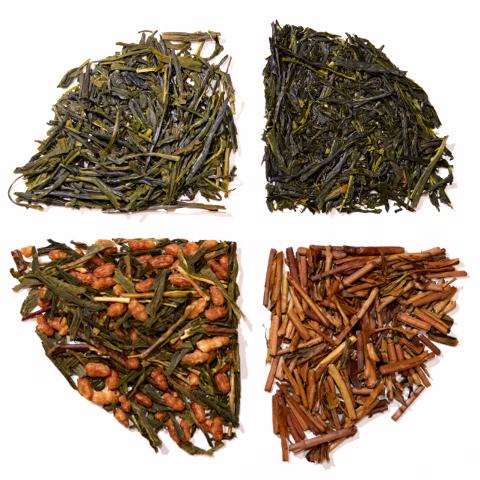 Bal felső: sencha, jobb felső: gyokuro, bal alsó: genmaicha, jobb alsó: houjicha. (Fotó: MsTea)